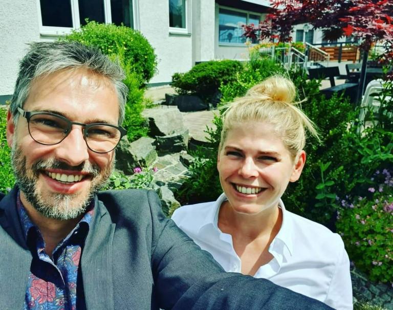 Vorstandswahlen SPD-Kreisverband Landkreis Hof: Foto mit Jennifer Bernreuther und Pascal Bächer
